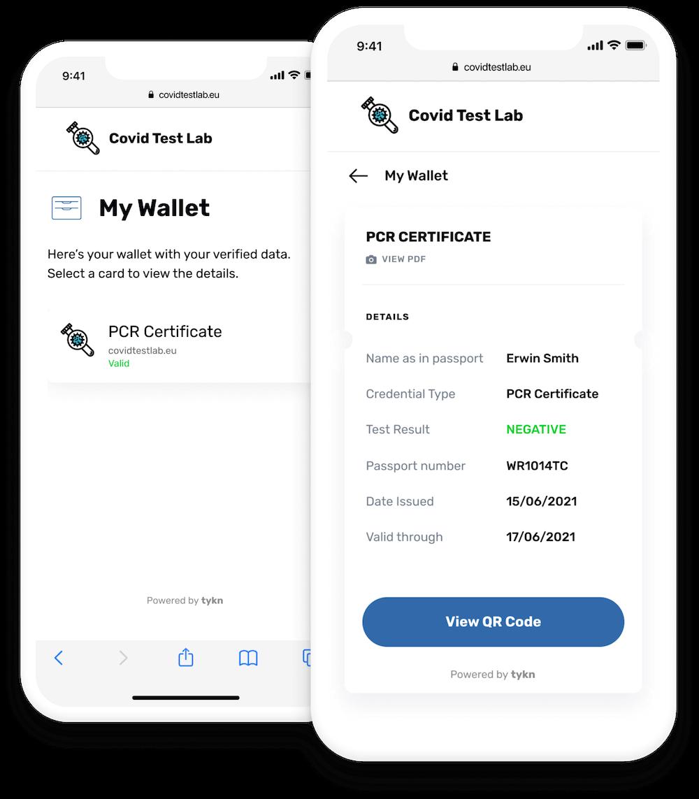 Tykn's Web Wallet Example - Covid Test